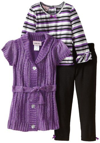 Amazon.com: Little Lass Baby-Girls Infant 3 Piece Belted Cable Knit Sweater Set, Purple, 12 Months: Clothing