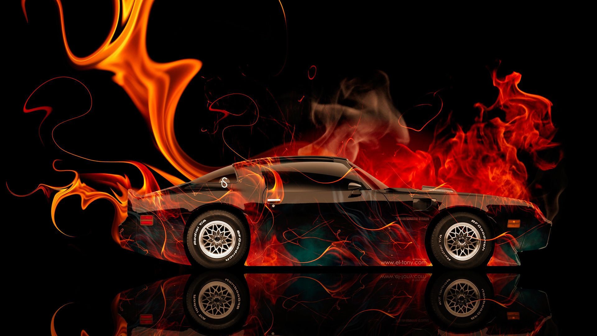 Pontiac Firebird Side Fire Abstract Car 2014 HD