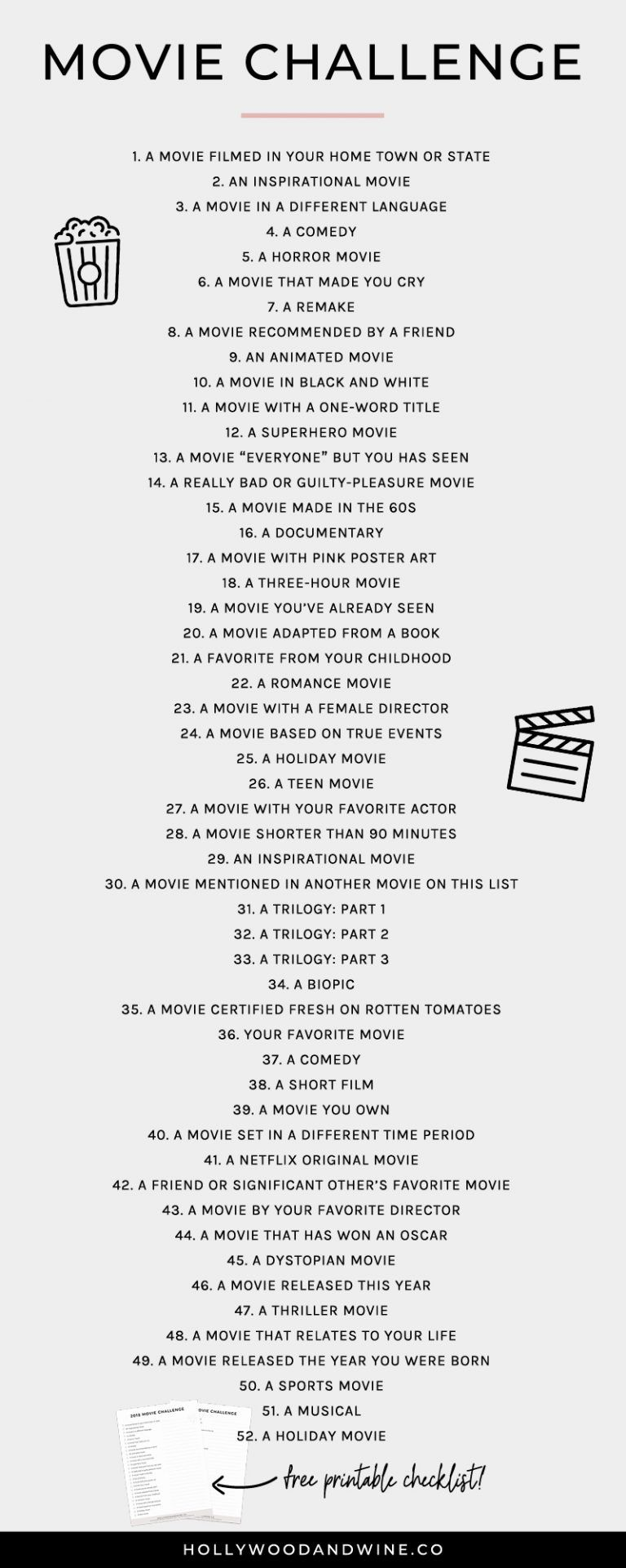 Movie Challenge (+ a free printable checklist!) - Hollywood & Wine