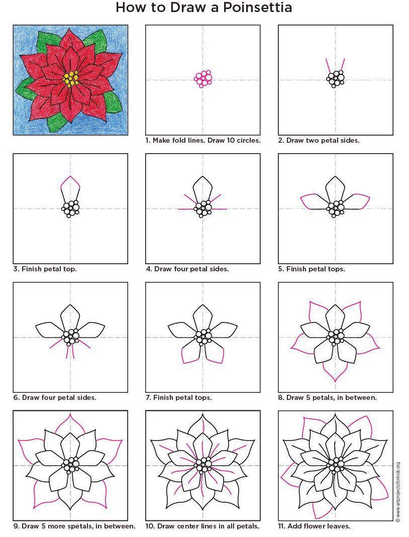 How To Draw A Poinsettia Pdf Tutorial Available #poinsettia #howtodraw  #artprojectsforkids
