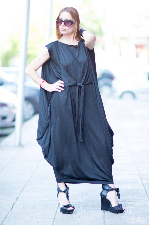 684d756583e Loose fit dress   Trendy plus size clothing   Loose Asymmetric Black Cotton  Dress   Dubai dress   Cotton Oversize Dress by…