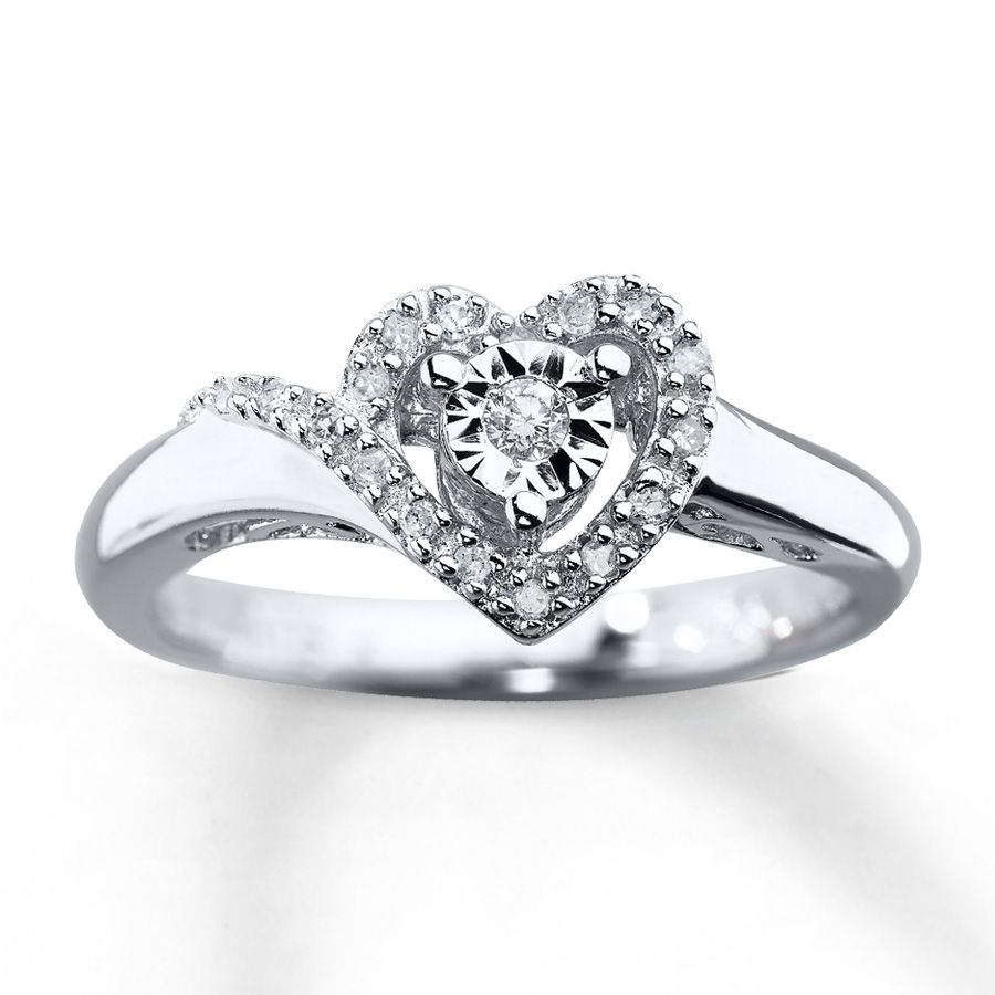 Kay Jewelers Promise Rings | Kay   Diamond Promise Ring 1/10 Ct Tw  Round Cut Sterling Silver
