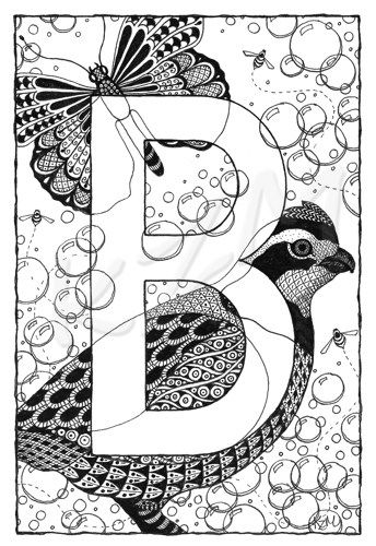 Illuminated Alphabet B Is Formatted Print From Original Drawing