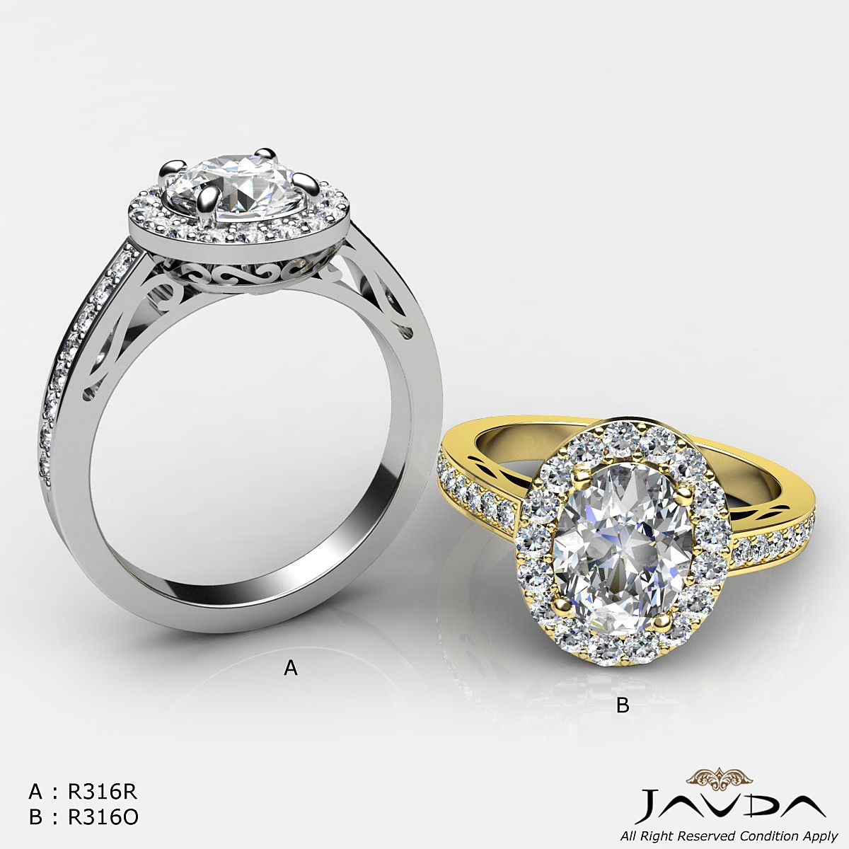 A :2.8ct Round Diamond Engagement Vintage Filigree Ring GIA F VS2 14k White Gold. B :2.3 ct Natural Oval Diamond Engagement Ring GIA H VS2 Halo Pave 14K Yellow Gold