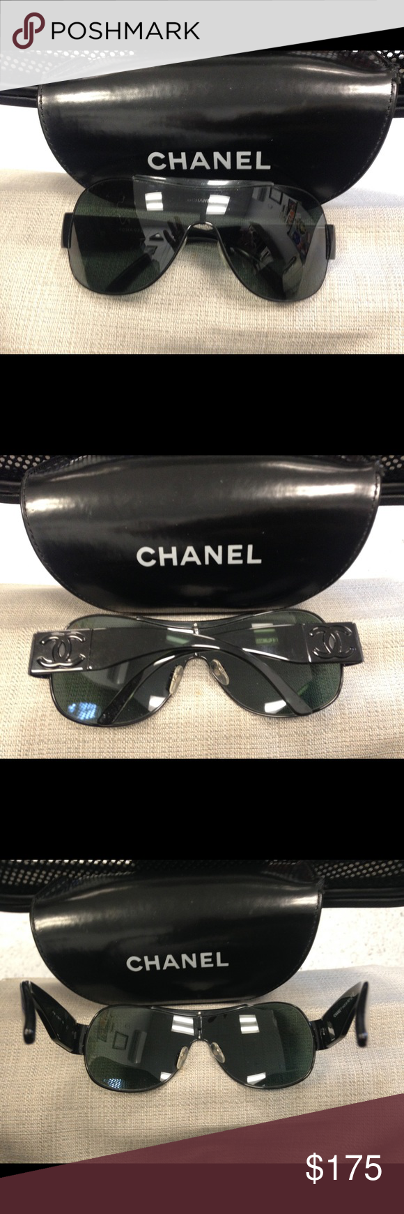 76c6391196c2 Chanel ladies sunglasses Authentic Authentic model 4136 black cc shield  pre- owned excellent condition with