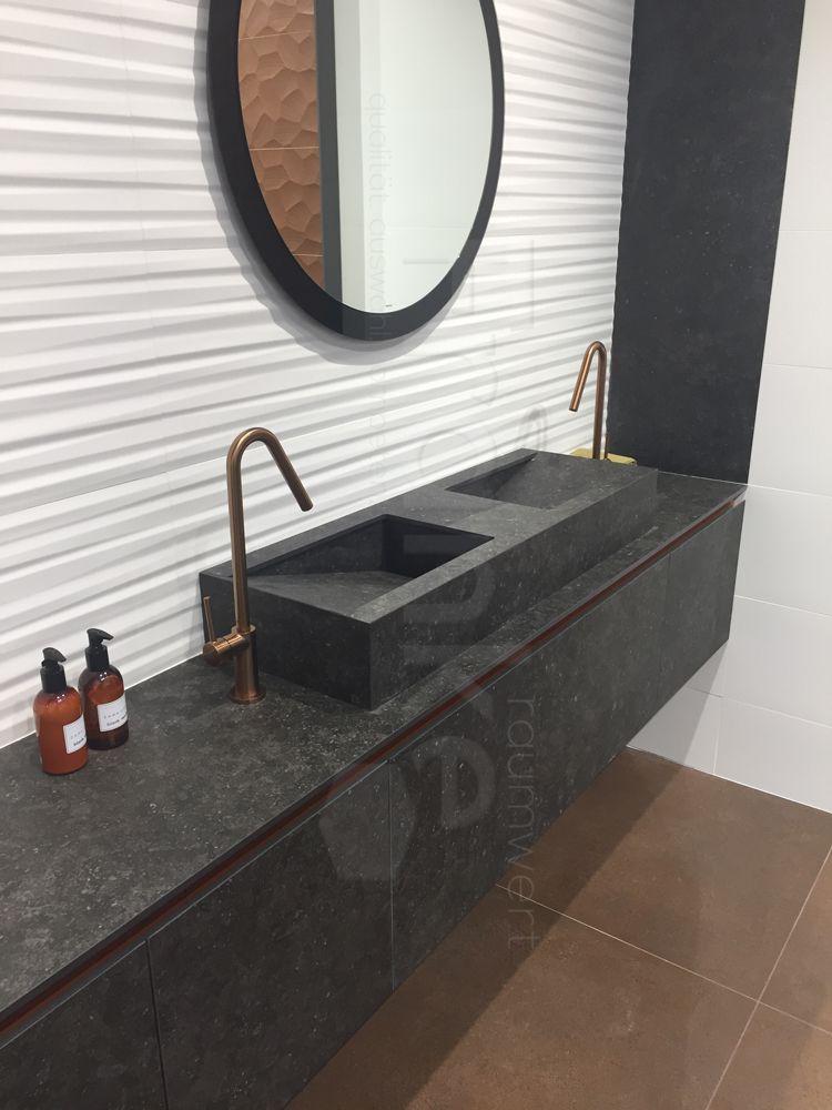 Steinwaschbecken in schwarz, dazu der passende Unterschrank - badezimmer waschbecken mit unterschrank