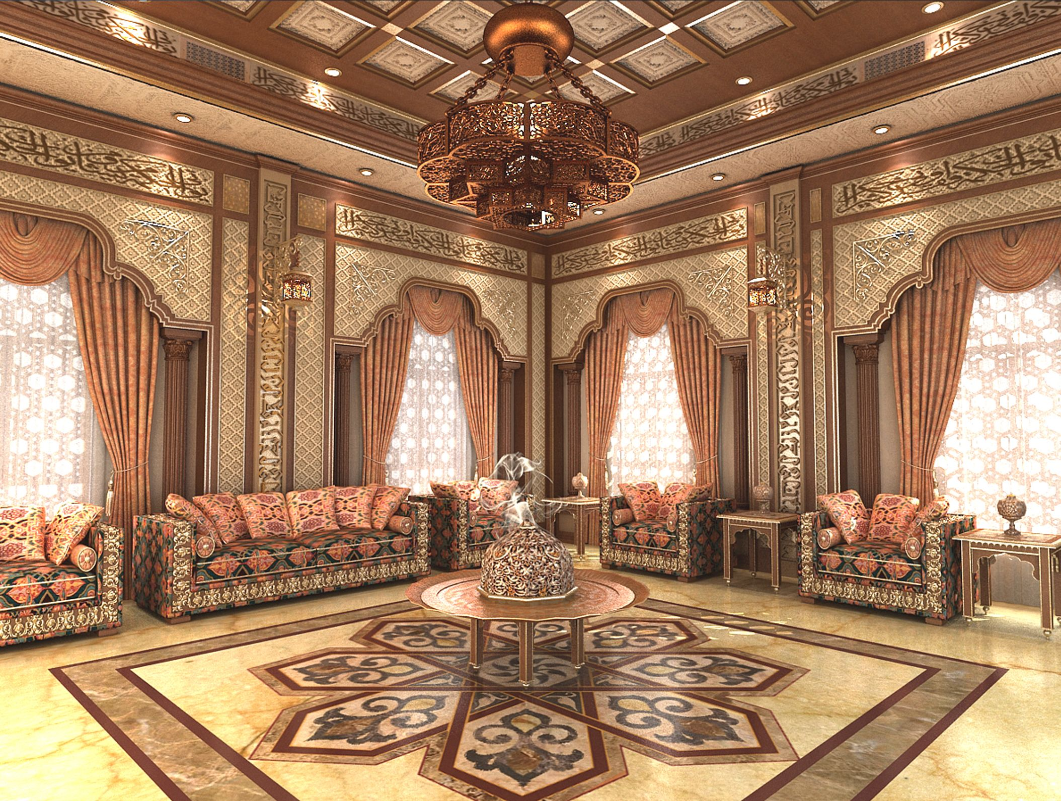 Islamic design living room pinterest for Arabic home decoration