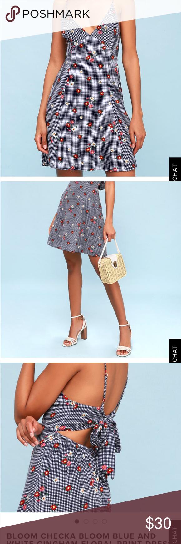 83689b0c570 Lulus floral print dress Lulus - bloom check bloom gingham blue and white  floral print dress