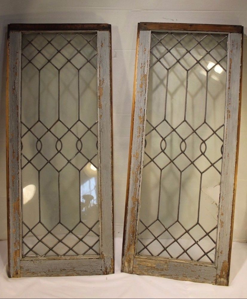 Antique Clear Stained Glass Window Ornate Lead Style Vintage