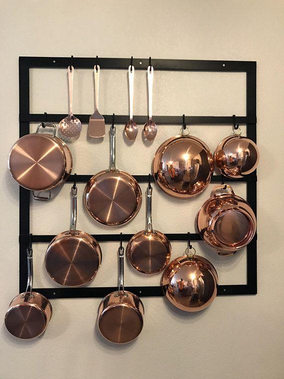 Wall Mounted Pot Rack - Vertical Pot Rack - Utensil Rack - Kitchen
