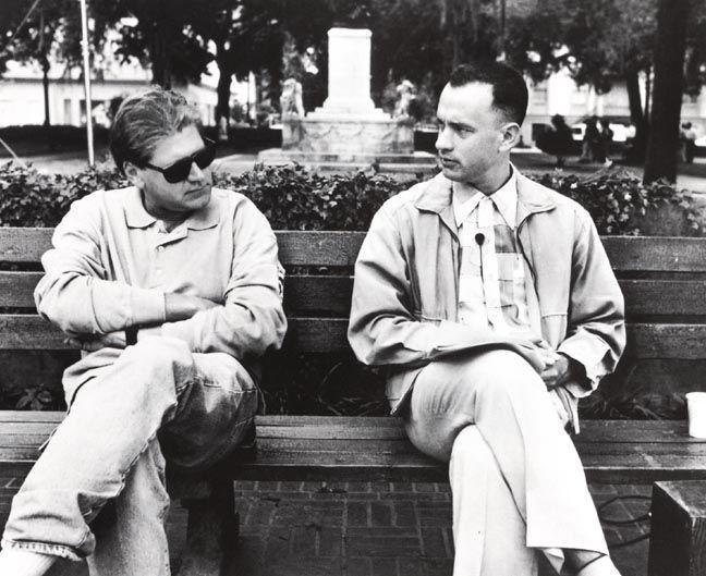 """Director Robert Zemeckis & Tom Hanks on-set of """"Forrest Gump"""" (1994)"""