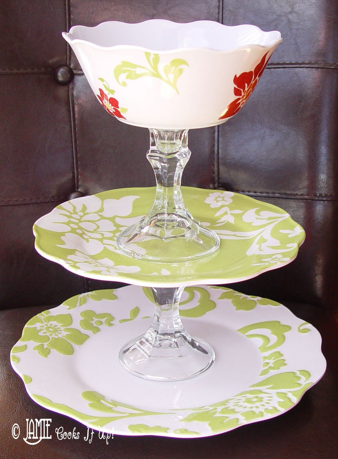 How To Make Your Own Tiered Serving Platter For Cheap Diy Cake Stand Tiered Serving Platters Serving Platters