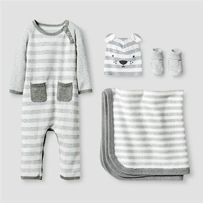 f7ca456cf Baby Organic Sweater Romper, Hat, Bootie and Blanket Set Baby Cat & Jack™ -  Heather Grey : Target