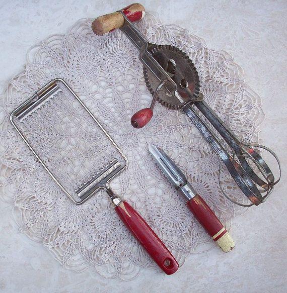 Dream Kitchen Utensils: Vintage Kitchen Utensils Including Tomato Slicer By