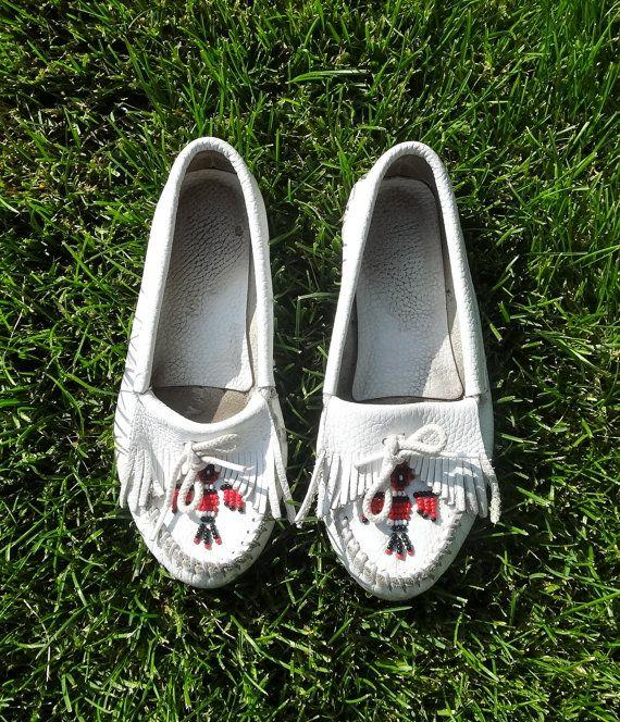 Vintage White Leather Beaded Moccasins Size 6 by JenniFerociousInk, $18.00