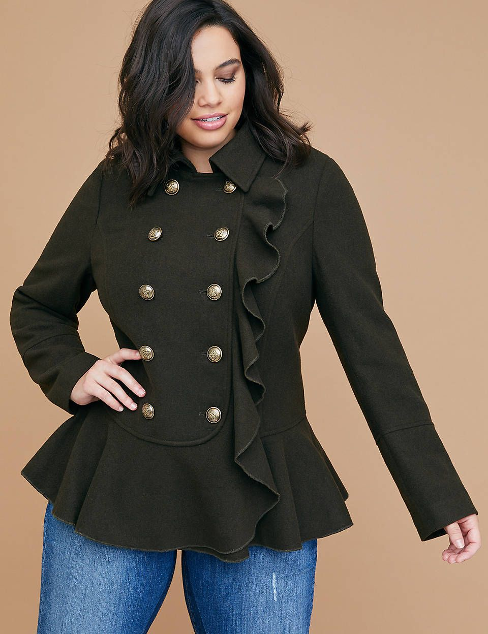 Military Wool Peplum Coat With Ruffle Peplum Coat Coat Plus Size Outerwear [ 1248 x 960 Pixel ]