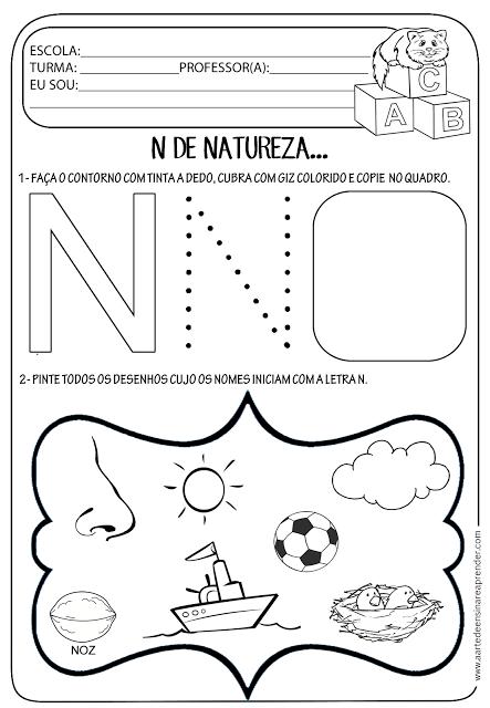 Atividade letra N | Atividades educação infantil | Pinterest