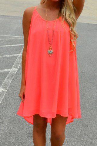 Stylish Spaghetti Strap Solid Color Hollow Out Chiffon Dress For WomenChiffon Dresses | RoseGal.com