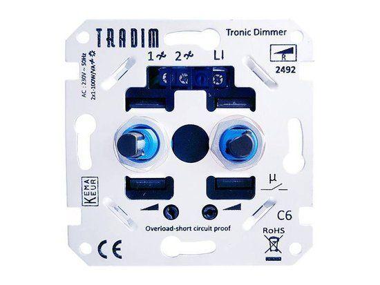 Tradim LED Duo dimmer 2 x 1-100W | Huis: Badkamer | Pinterest