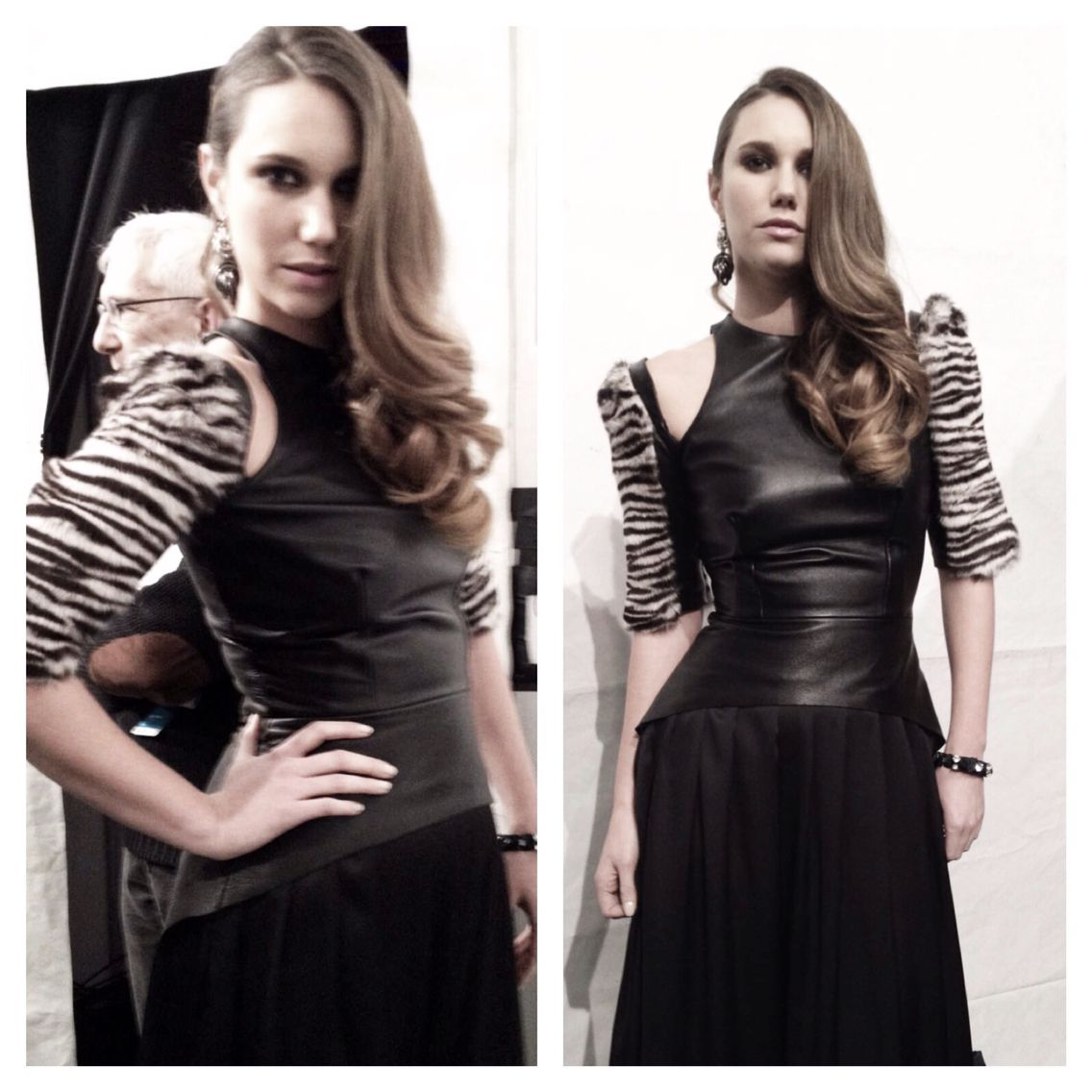 Genoveva Christoff design, leather dress, fur sleeves, zebra print, edgy long dress.