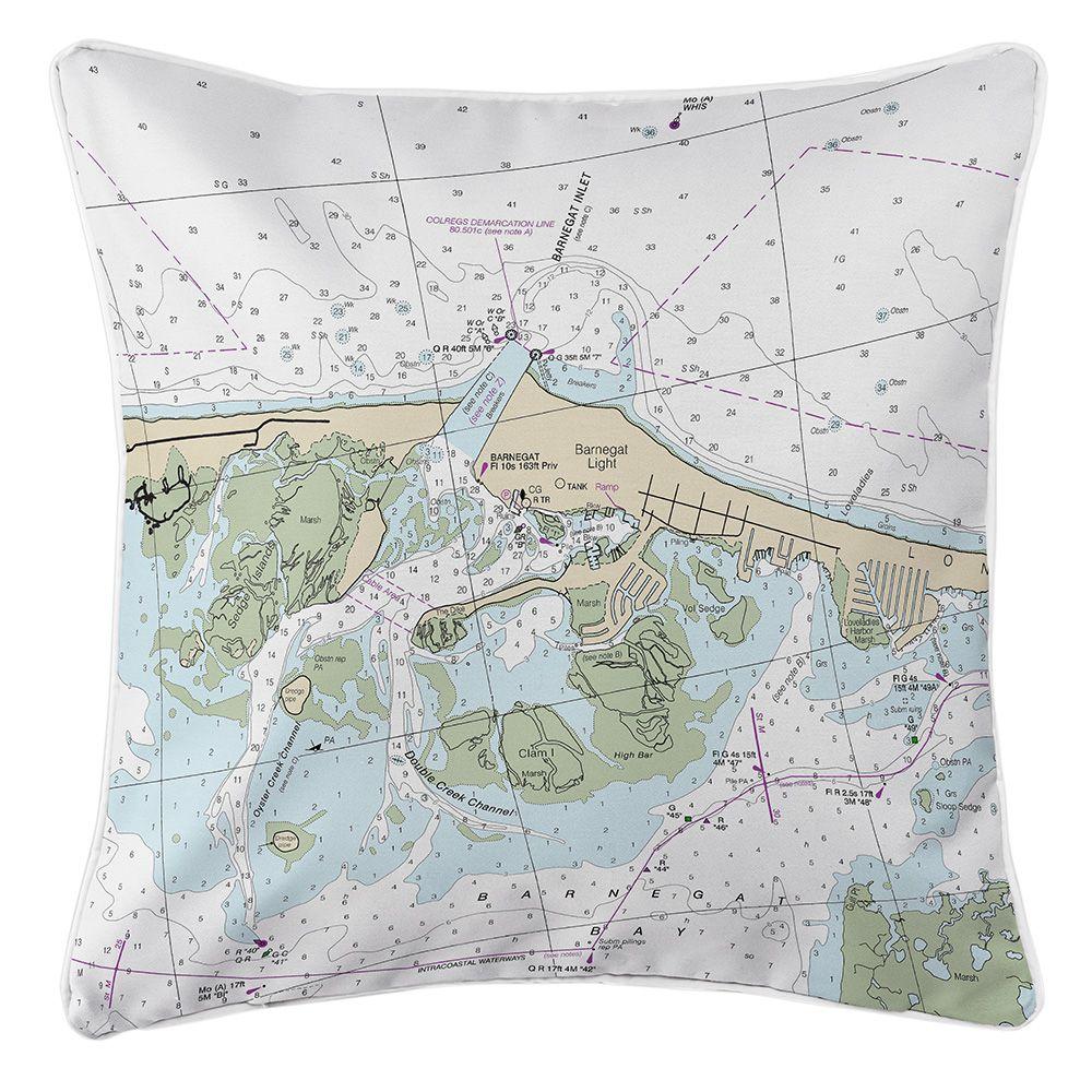 Nj Barnegat Light Nj Nautical Chart Pillow Pillows Nautical Pillows Throw Pillows