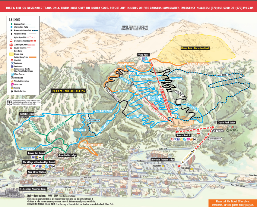 Breckenridge ski area summer bike and hike trail map | Breckenridge on