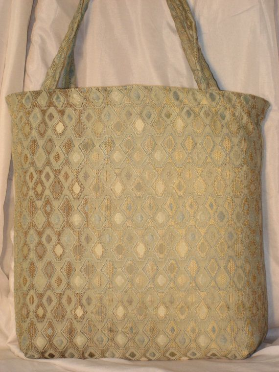 Recycled  Shopping  Damask Tote Diamond~Razzledazzle~Blue~Brown