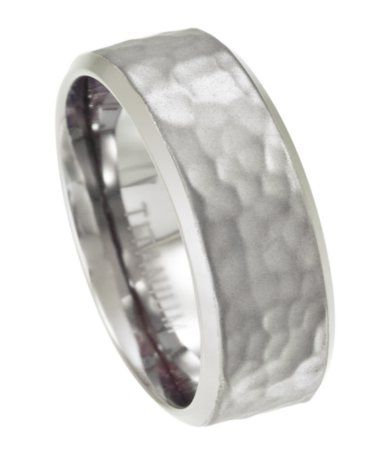 Mens Titanium Wedding Ring with Hammered Texture 8mm JT0150