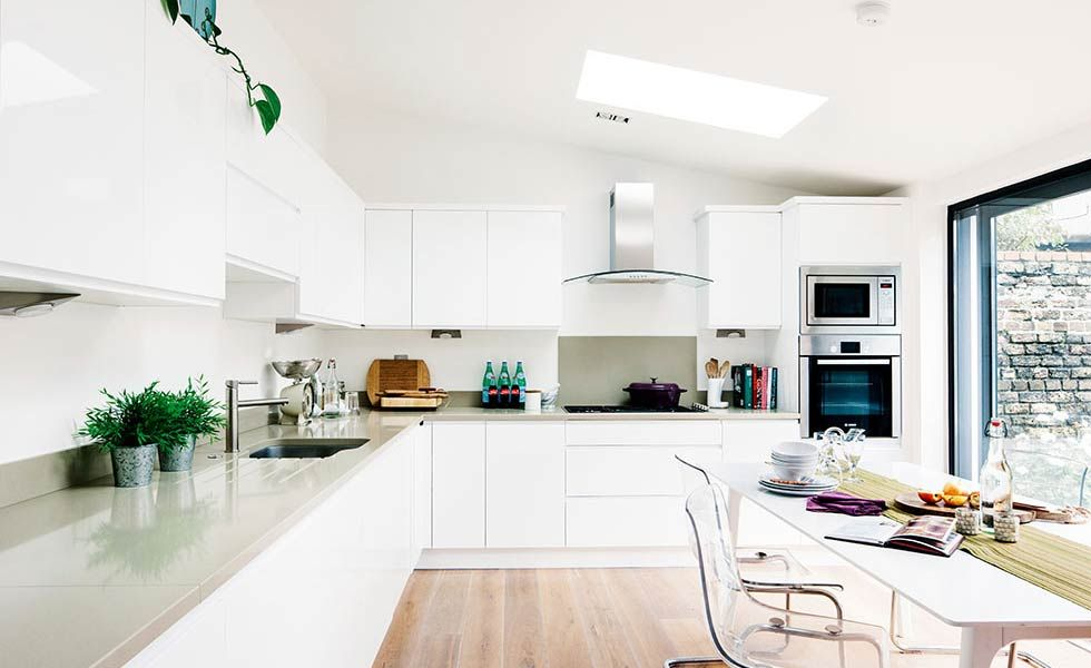 white contemporary kitchen in an extended home | Kitchen Ideas ...