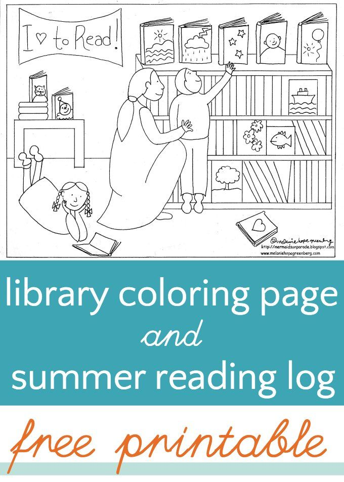 Free Printable Library Coloring Page For Kids With Bonus Blank Reading Log Great