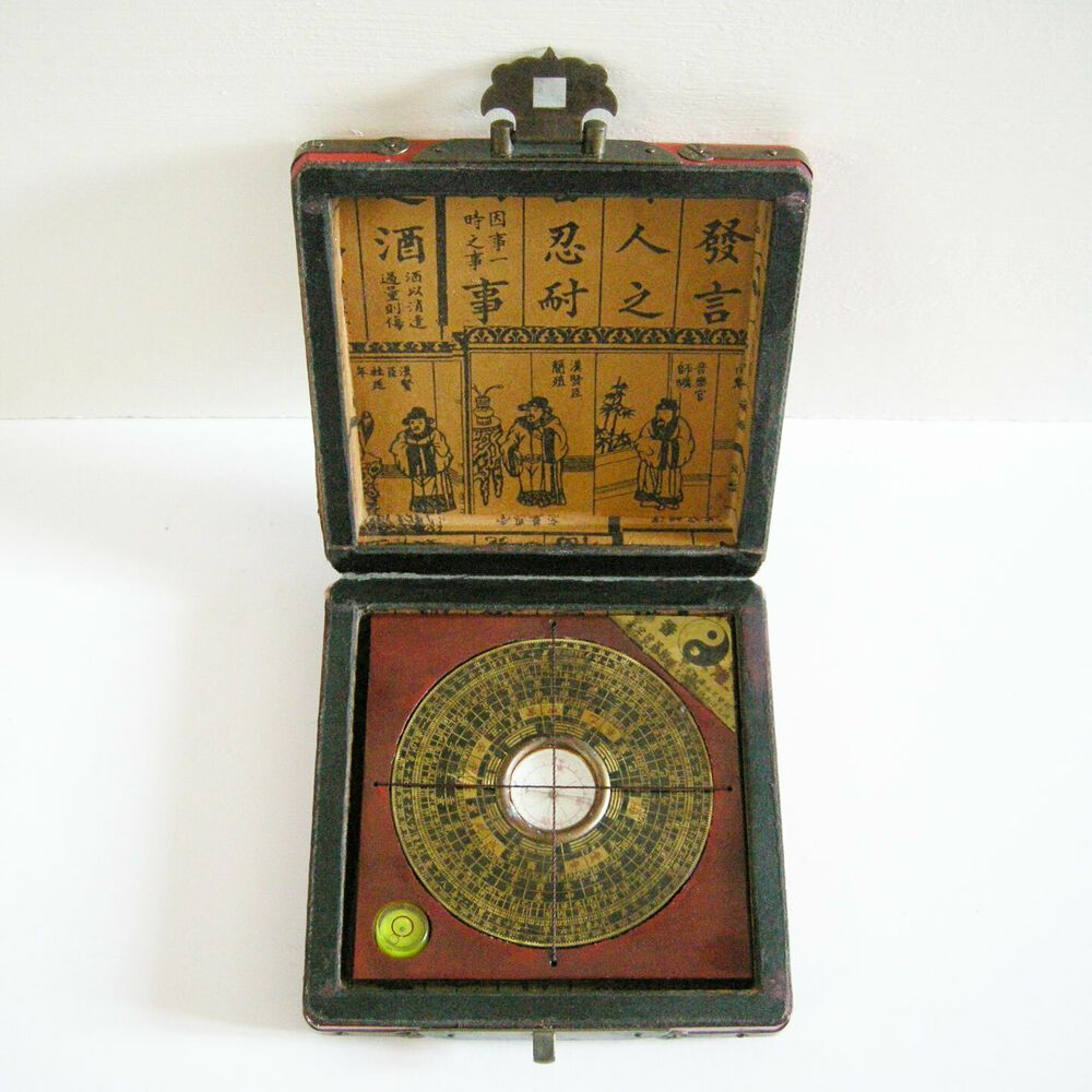 Vintage Chinese Compass In Wood Box 13 13cm Works Made In China Wood Case Wood Boxes Compass
