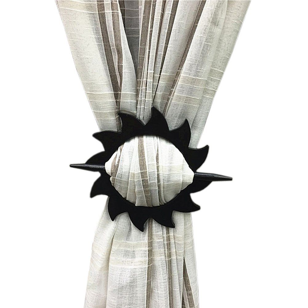 Joyci One Pair Curtain Tiebacks Elegant Hook Flower Clips Costly