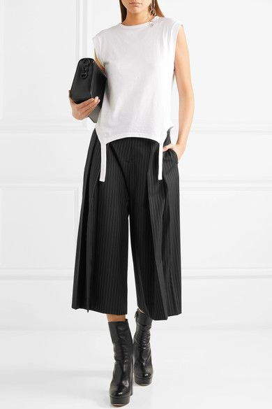Cropped Pleated Pinstriped Twill Pants - Black Alexander McQueen ymrnXV