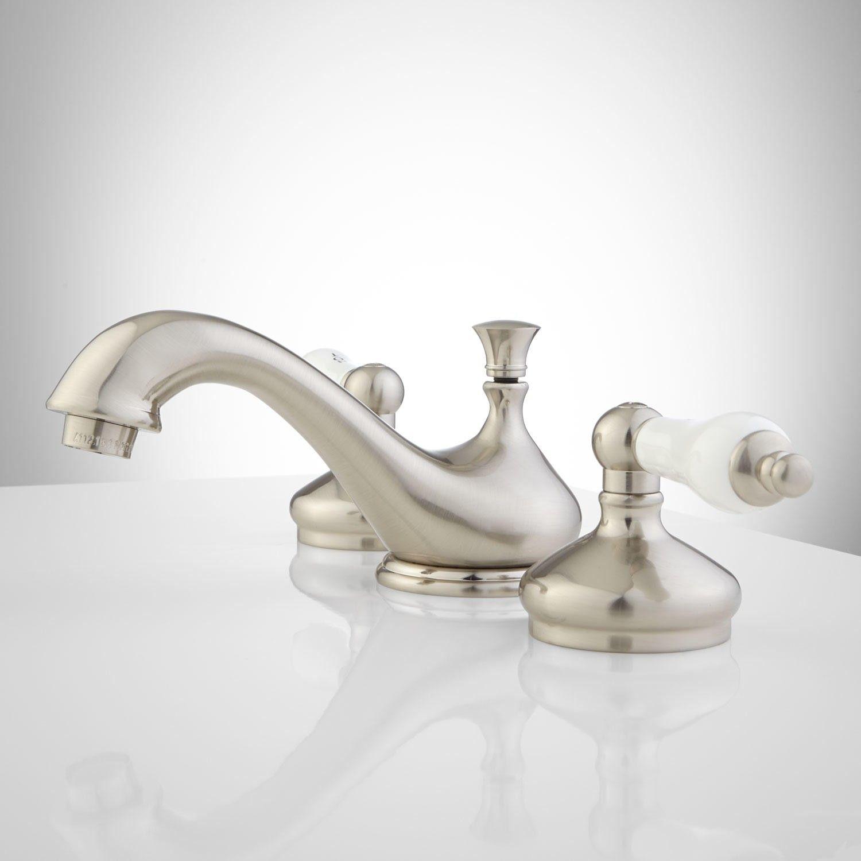 Teapot Widespread Bathroom Faucet Porcelain Lever Handles