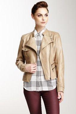 Whet Blue Asymmetrical Zip Leather Jacket
