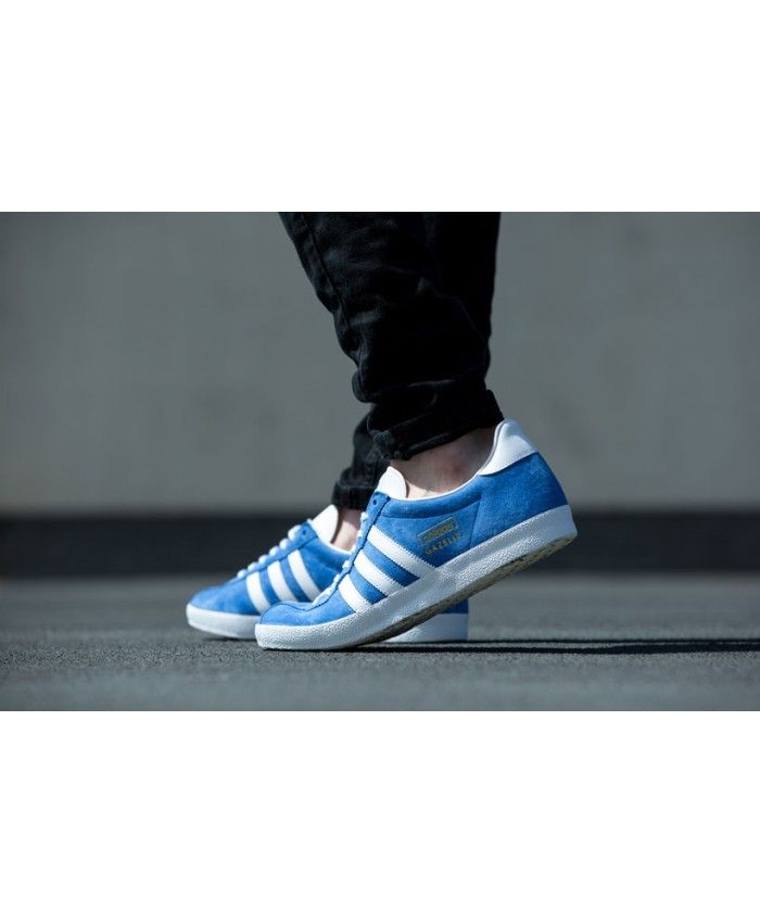 Adidas Originals Gazelle Blue White On Feet Mens Sale