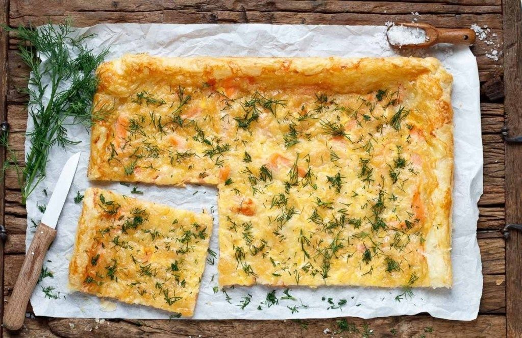 Puff Pastry Pizza With Smoked Salmon  Dill  RecipeLabs