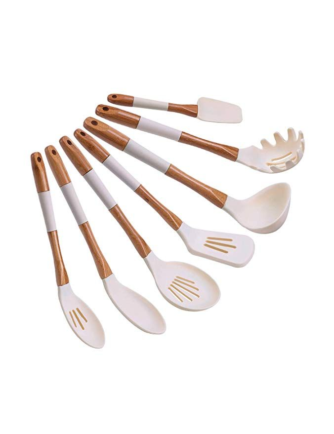 Amazon Kitchen Essentials: Ivory-white Silicone Cooking Utensils Set Of 7 In