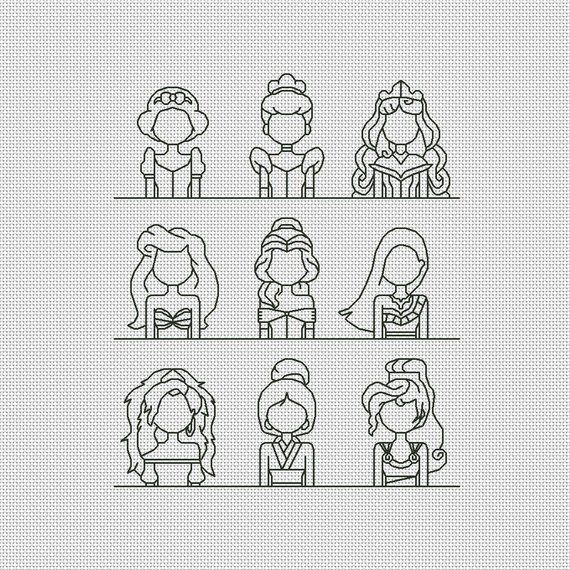 Disney princesses cross stitch pattern Modern cross stitch | Etsy