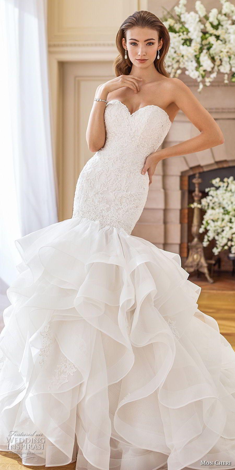 Mon Cheri Fall 2017 Wedding Dresses Wedding Inspirasi Ruffle Wedding Dress Trumpet Wedding Dress Sweetheart Wedding Dress [ 1800 x 900 Pixel ]