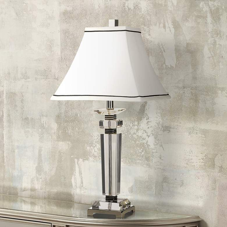 Vienna Full Spectrum Square Crystal Column Table Lamp 40429