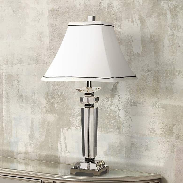 Vienna Full Spectrum Square Crystal Column Table Lamp 40429 Lamps Plus In 2020 Table Lamp Crystal Table Lamps Lamp