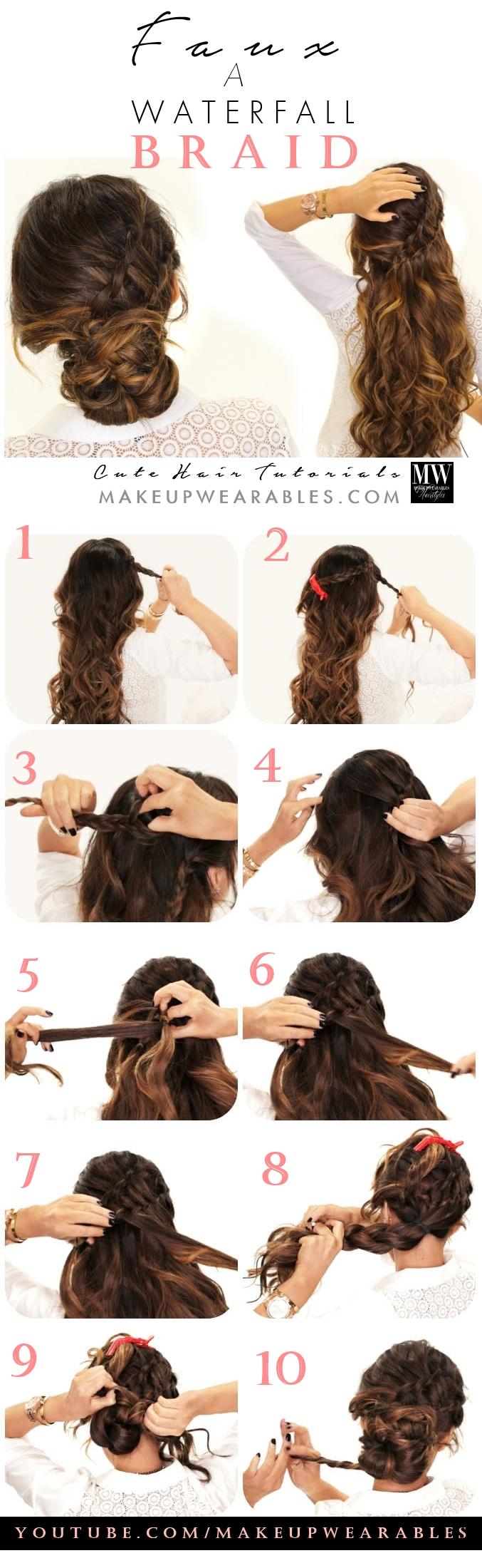 Easier way to do a Waterfall Braid tutorial Learn how to fake a