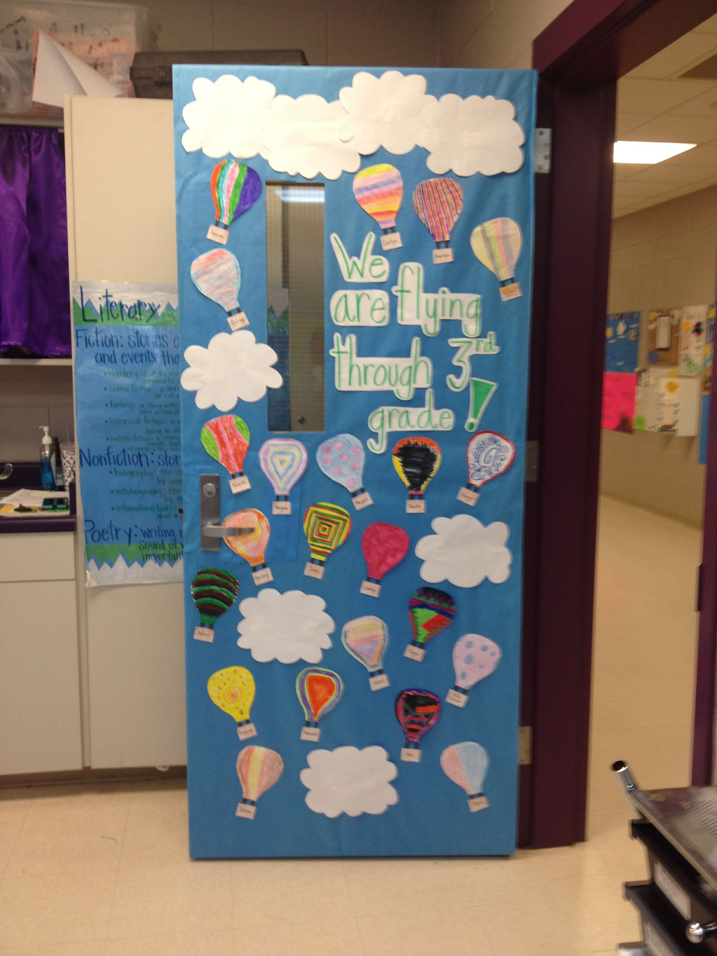 Hot Air Balloon Door for Spring! Each of my students decorated their own balloon!