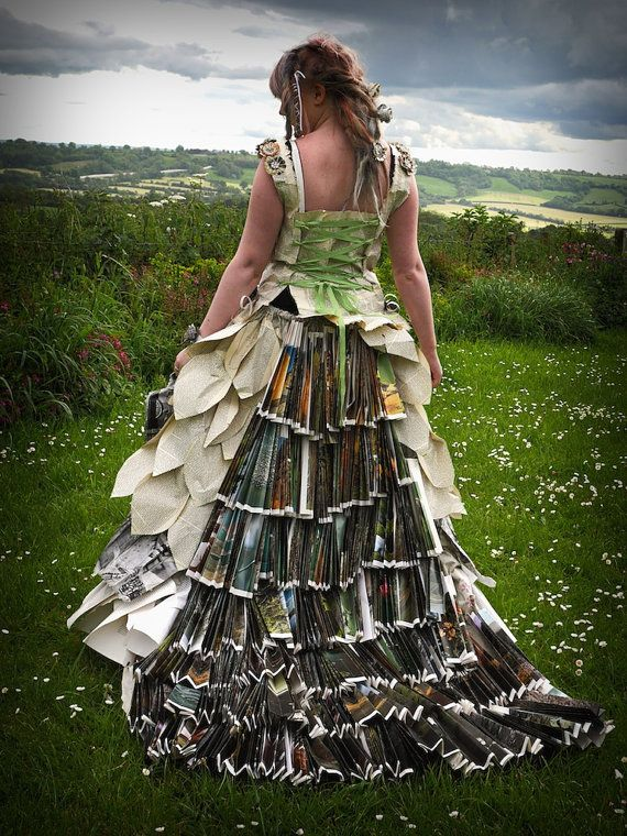 Made with old books, paper, and book spines. Fairytale