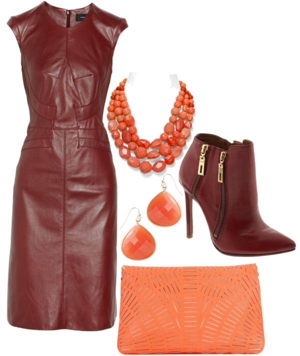"""""""Coral and Burgundy"""" by kaishabackwards ❤ liked on Polyvore"""