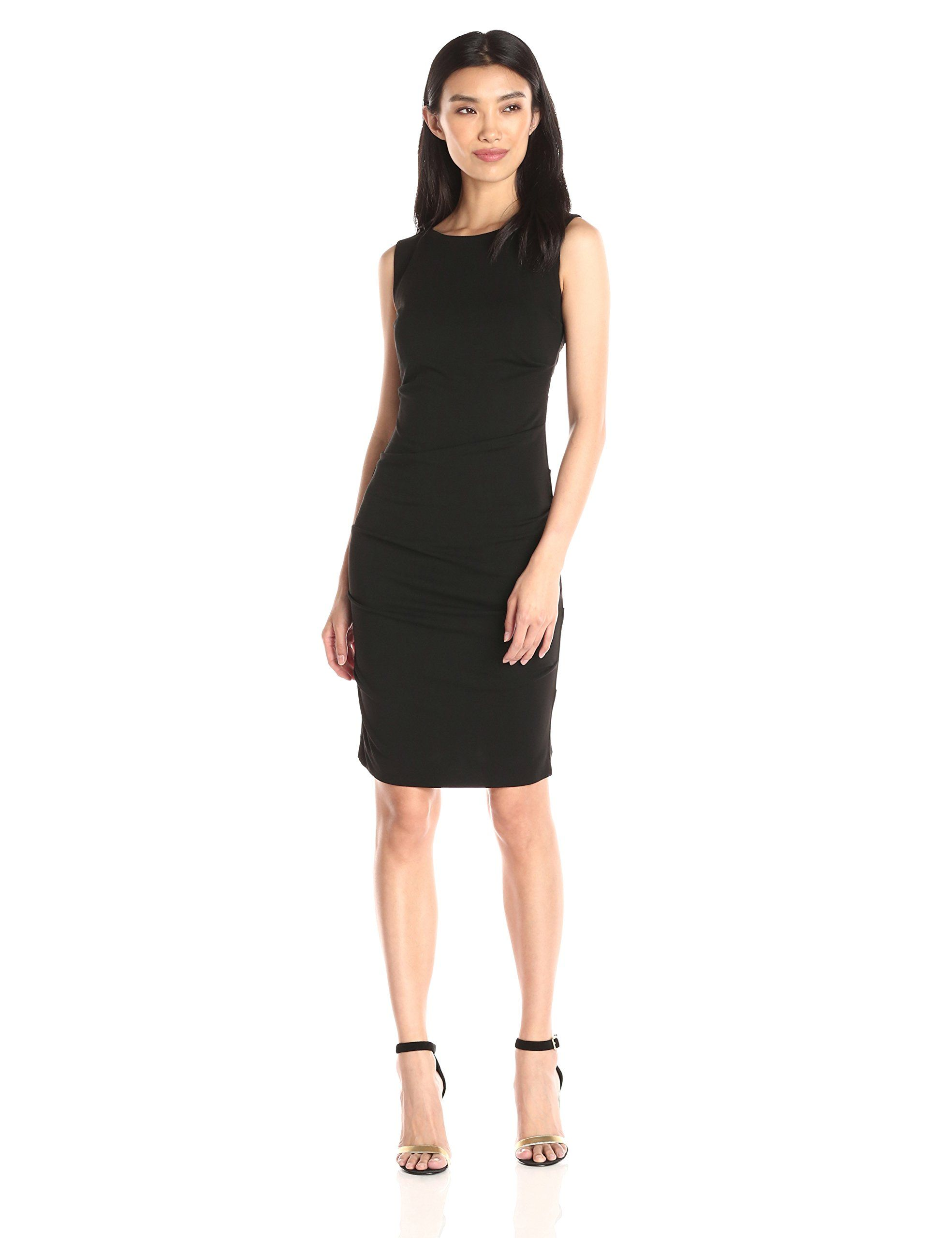 Nicole Miller Women's Lauren Stretchy Matte Jersey, Black, 8. Nicole Miller collection. Ruching. Sheath.