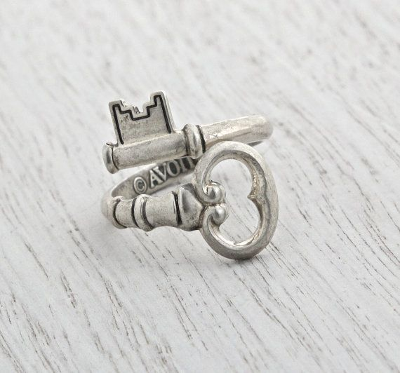 Vintage Sterling Silver Skeleton Key Ring Retro 1970s