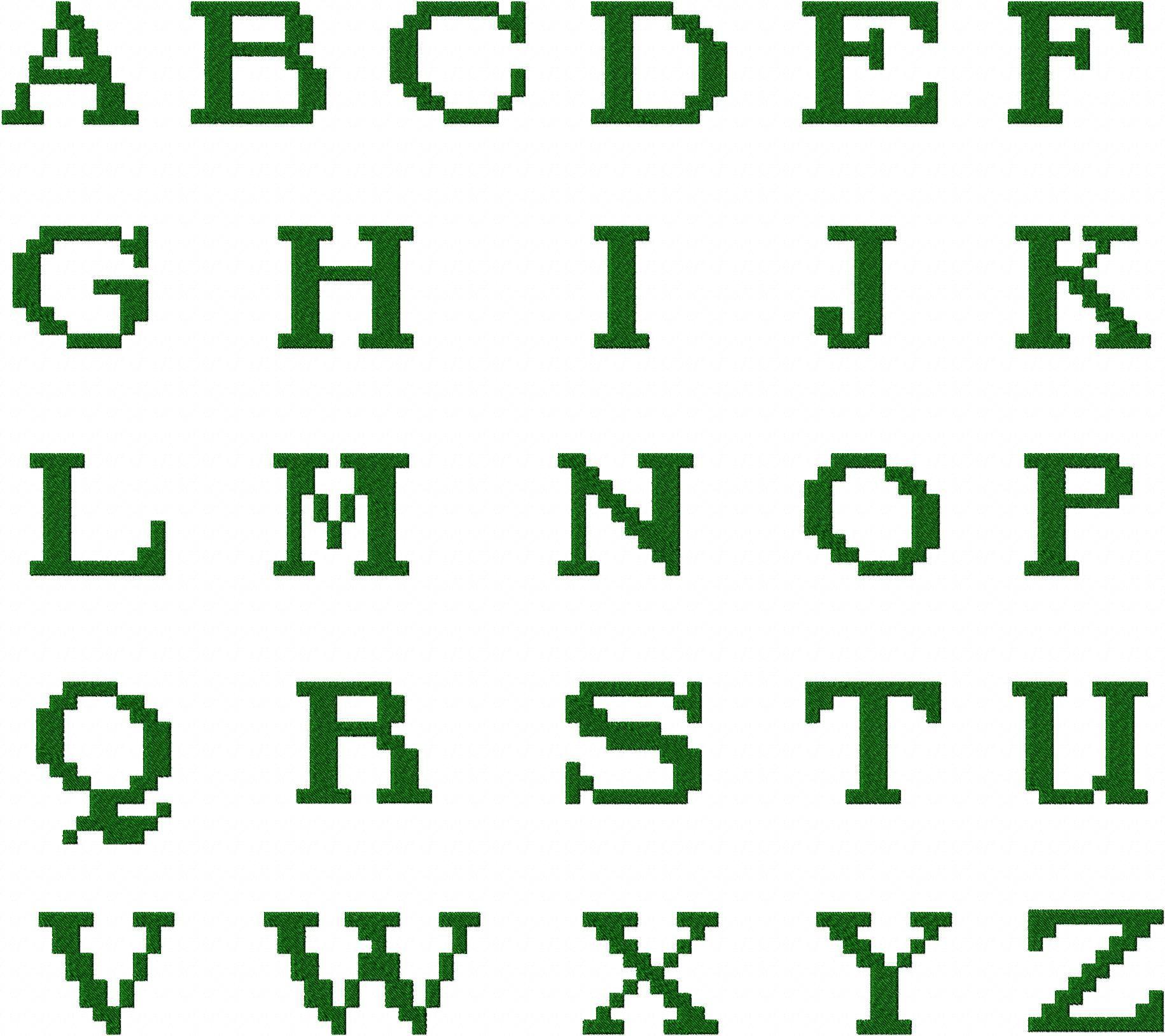 Fantasy Pixel Font Machine Embroidery Monogramming Font