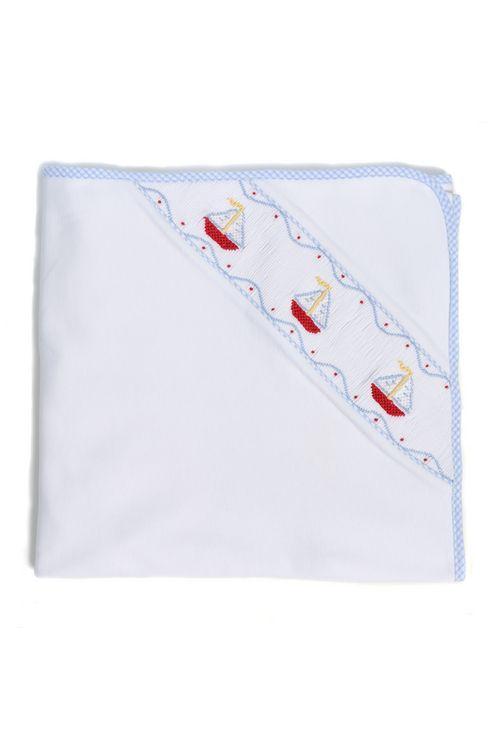 Pima Knit Smocked Blanket- Sailboat